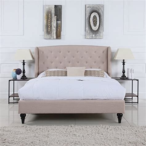 bed frame accessories classic dark beige box tufted shelter bed frame queen