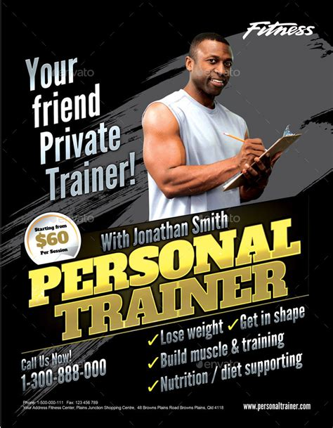 templates for personal training flyers personal trainer flyer by inddesigner graphicriver
