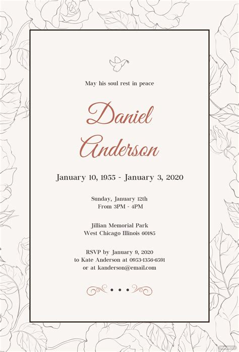 Free Simple Funeral Invitation Template In Psd Ms Word Publisher Illustrator Indesign Apple Simple Invitation Template