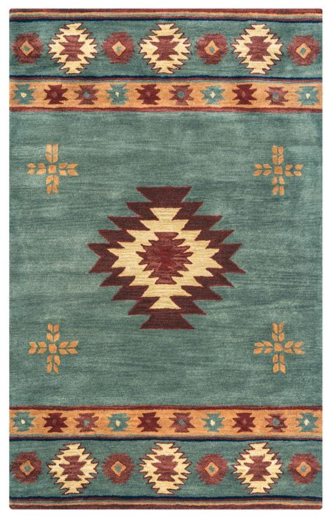 southwest indian pattern wool area rug  gray blue rust