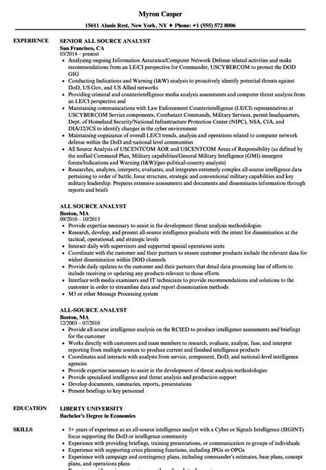 Criminal Intelligence Analyst Sle Resume by Criminal Intelligence Analyst Sle Resume Assistant Account Executive Sle Resume