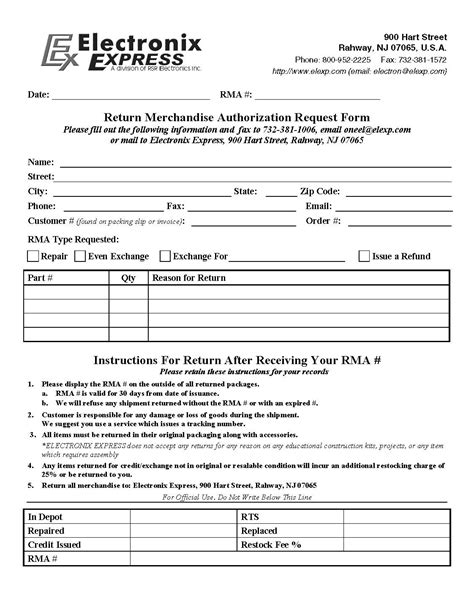rma document template best photos of rma form template rma request form