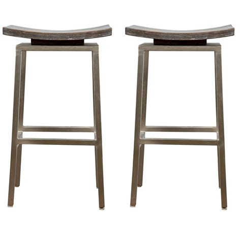 wood and chrome bar stools set of two modern pagoda shaped chrome and piape wood bar stools at 1stdibs