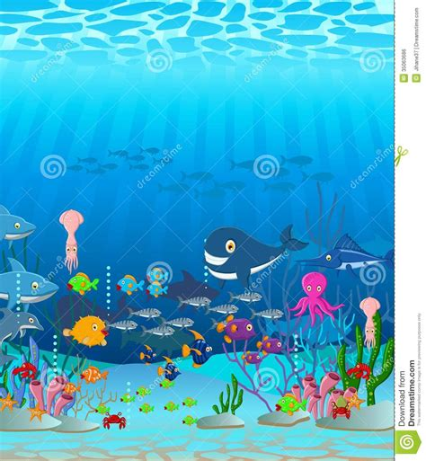 3 Bed Room Floor Plan by Sea Life Cartoon Background Royalty Free Stock Image