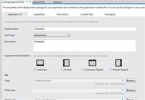 git tutorial html5 windows metro le manifest appxmanifest xml et les