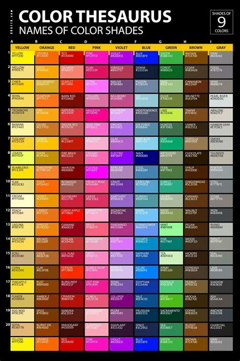 color thesaurus color mixing guide color meanings