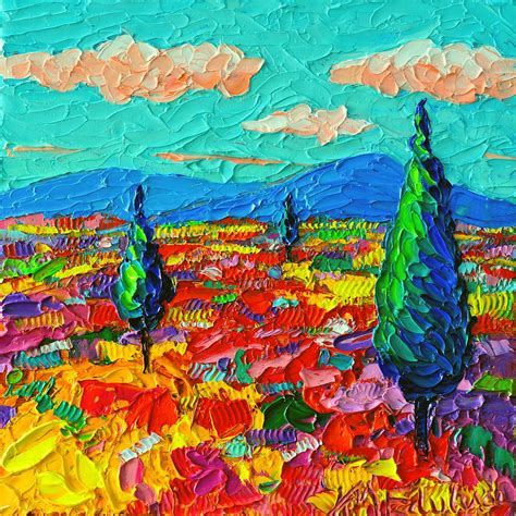 colorful paintings colorful poppies field abstract landscape impressionist