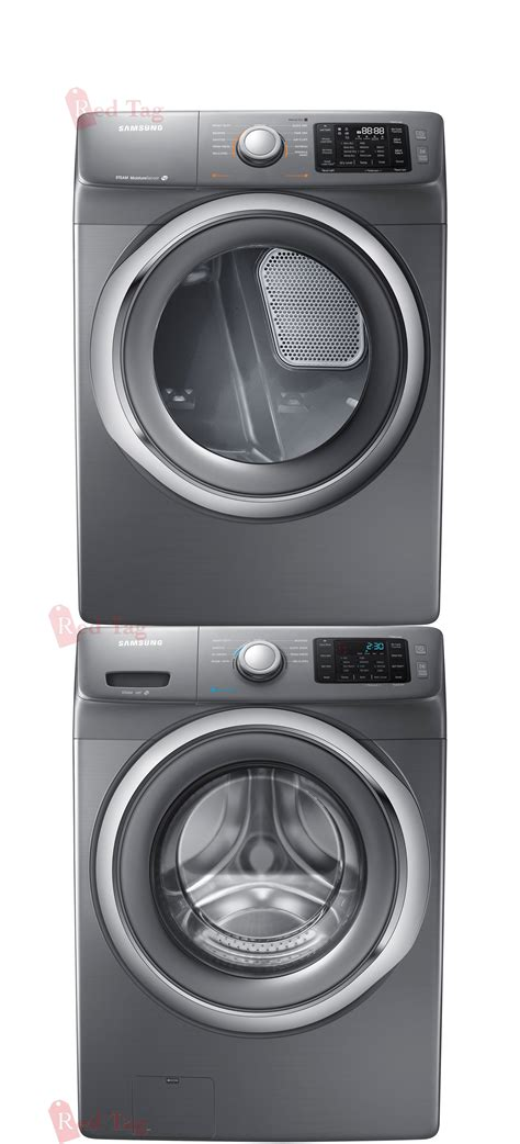 new samsung 4 2 cf front load steam washer 7 5 electric dryer platinum stacked ebay