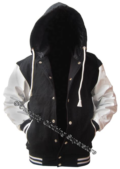 Black Hoodie Jacket black wool white leather varsity hoodie letterman