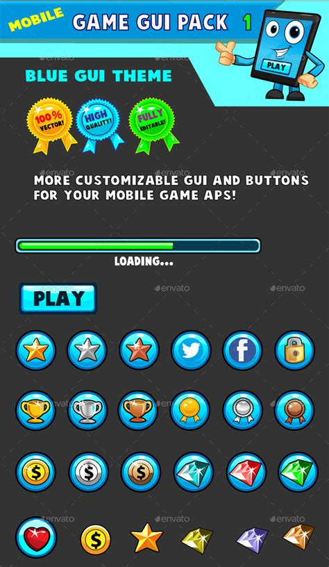 themes for mobile games mobile games gui pack 1 blue theme by pasilan graphicriver