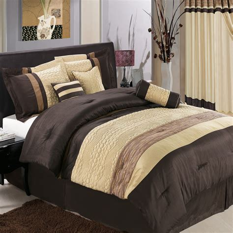 Bed In A Bag Quilt Sets 7pc Luxury Bed In A Bag Bedding Comforter Set Sonata Coffee Brown Set Size Ebay
