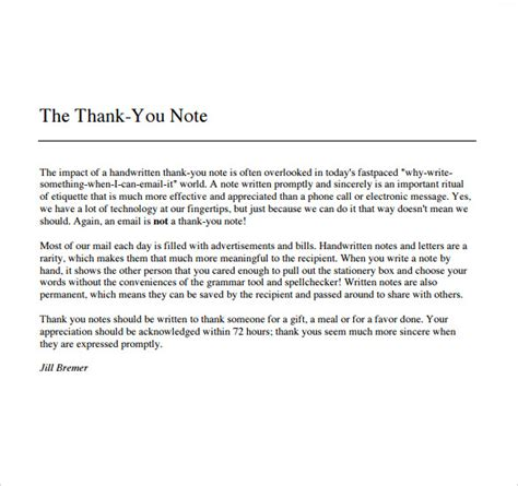 thank you letter to your for a gift sle thank you note for gift 6 documents in pdf word