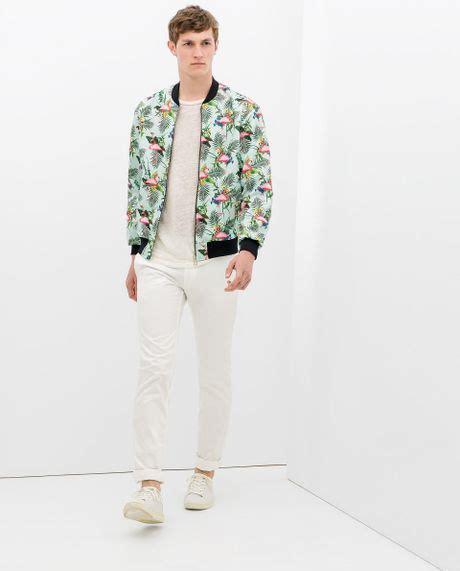 Jaket Bomber Flamingo By Fwr Shop zara flamingo jacket in blue for sky blue lyst