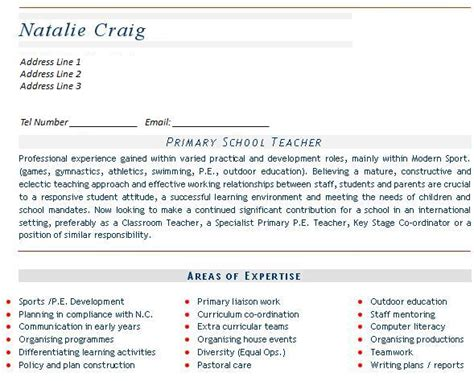 Curriculum Vitae Resume Sles For Teachers Cv Sles Page 2