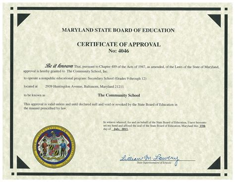 The Community School Certifications Maryland High School Diploma Template