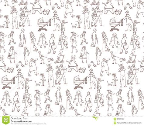 seamless pattern sketch vector sketch seamless pattern of illustrations walking