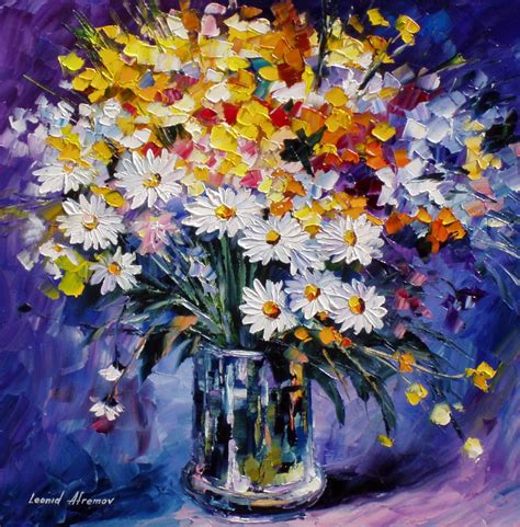 paintings of flowers colored flowers palette knife oil painting on canvas by