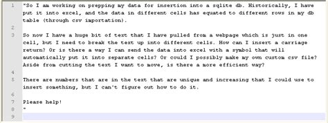csv format escape double quotes excel how can i take a large piece of text in one cell