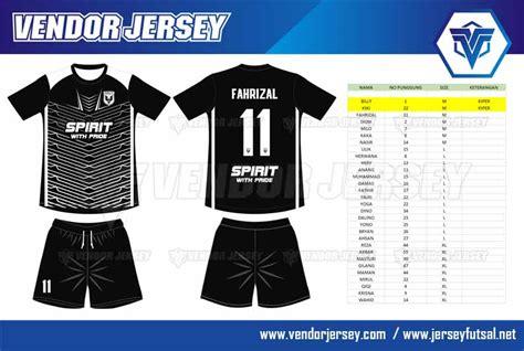 desain jersey futsal warna hitam produksi pembuatan baju futsal warna hitam putih printing