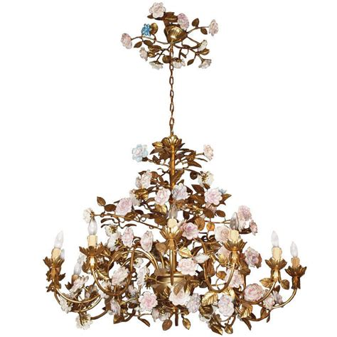 Chandelier With Flowers Capodimonte Gilt Bronze Chandelier With Porcelain Flowers At 1stdibs