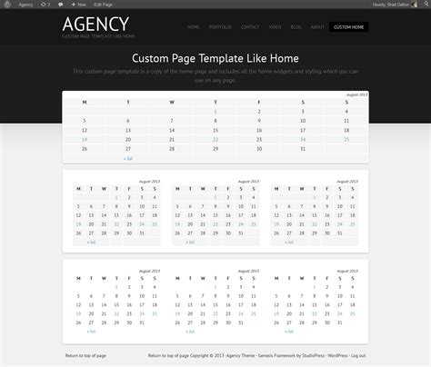 custom page template create custom page template like home for the agency theme