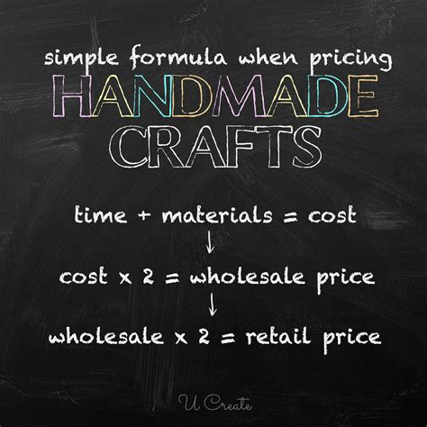 How To Price Handmade Items - pricing chart for handmade crafts u create
