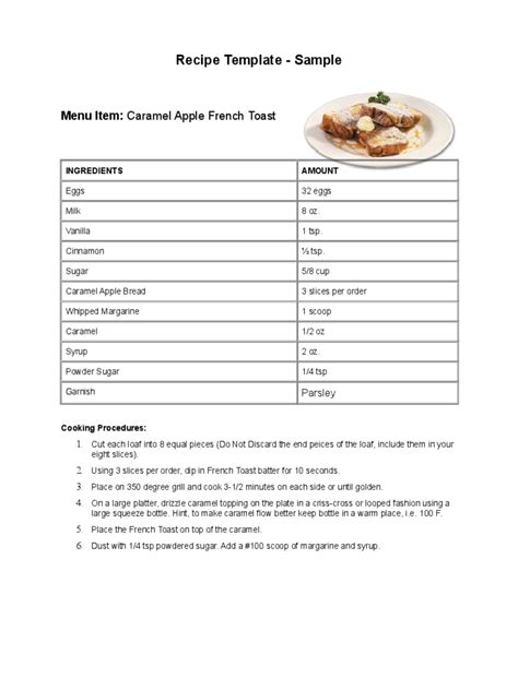 recipe template   templates   word excel