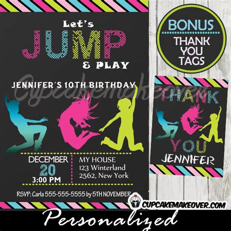 printable jump birthday invitations troline birthday party invitation personalized d7