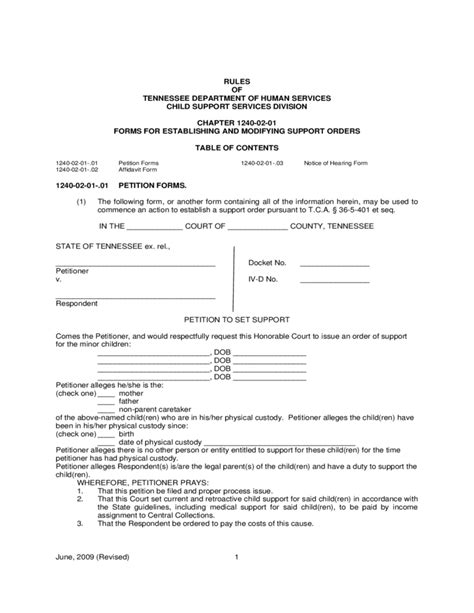 Tennessee Child Support Office by Forms For Establishing And Modifying Support Orders