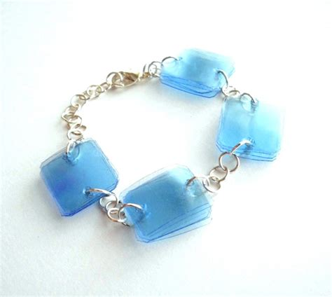 Handmade Recycled Jewelry - blue bracelet handmade of recycled plastic bottles