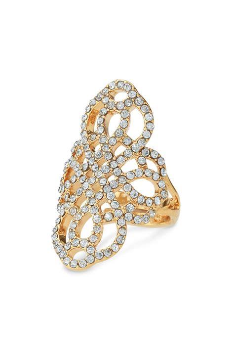 Rhinestone Ring Gold gold black rhinestone statement ring