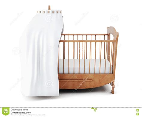 White Wooden Crib Wooden Crib With Canopy Isolated On White Background 3d