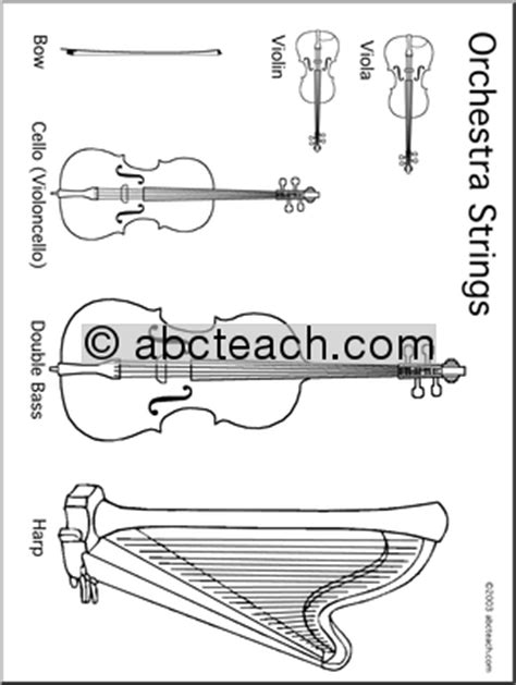 String Worksheets - coloring page orchestra strings abcteach