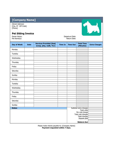 Pet Sitting Invoice Invoice Template Ideas Boarding Invoice Template