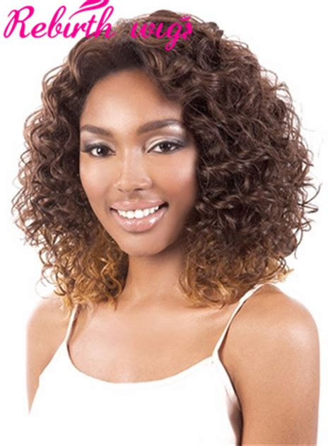 two tone short afro synthetic hair afro kinky curly wigs for black women ombre