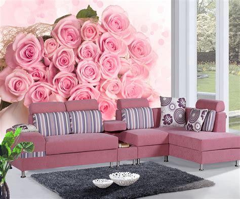 Wallpaper Murals 3d Stereoscopic Soft Bag Roses Living Room Tv Wa popular wallpaper pink roses buy cheap wallpaper pink