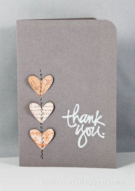 Ideas For Handmade Thank You Cards - handmade thank you card gray base three punched
