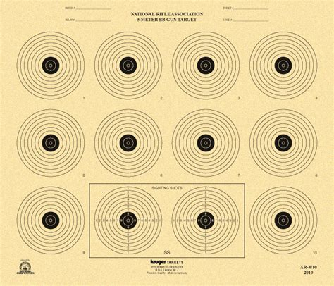 printable competition targets 5 meter bb gun target nra ar 4 10 nra official