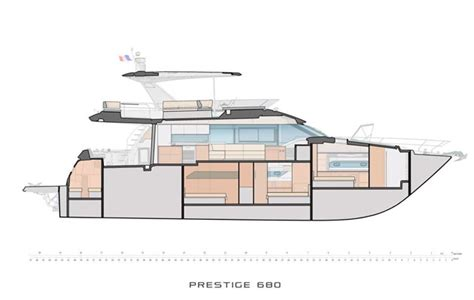 sections of a boat prestige 680 cross section motor boat yachting