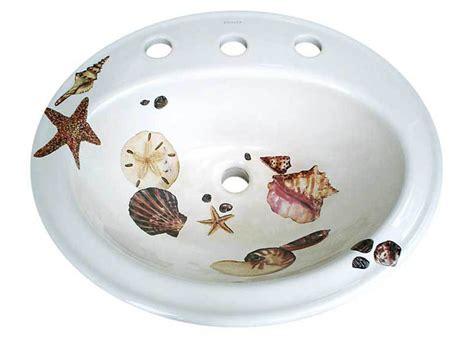 hand painted bathroom sinks seashells drop in painted sink jpg
