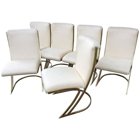 Cantilever Dining Chairs Cardin Vintage Set Of Six Brass Side Dining Chairs Cantilever Z Back For Sale At 1stdibs