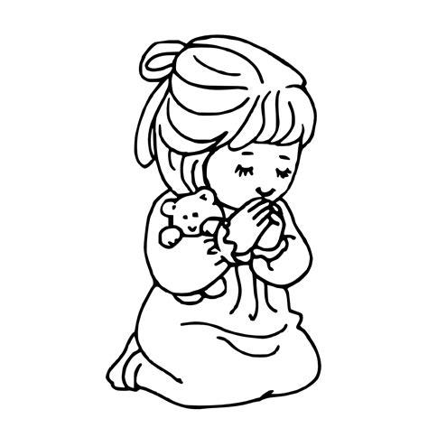 boy and girl praying coloring page free