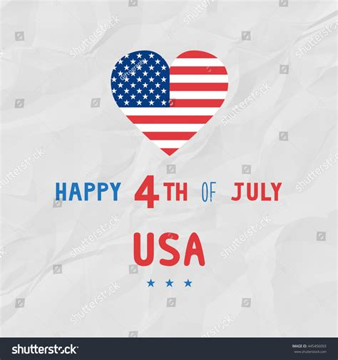Independence Day Usa Essay by Happy 4th July On White Crinkle Stock Illustration 445456093
