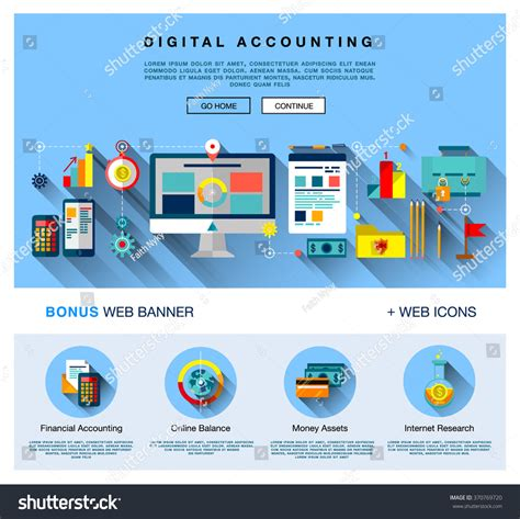 Page Web Design Flat Template Bright Stock Vector 370769720 Shutterstock Web Design Study Template