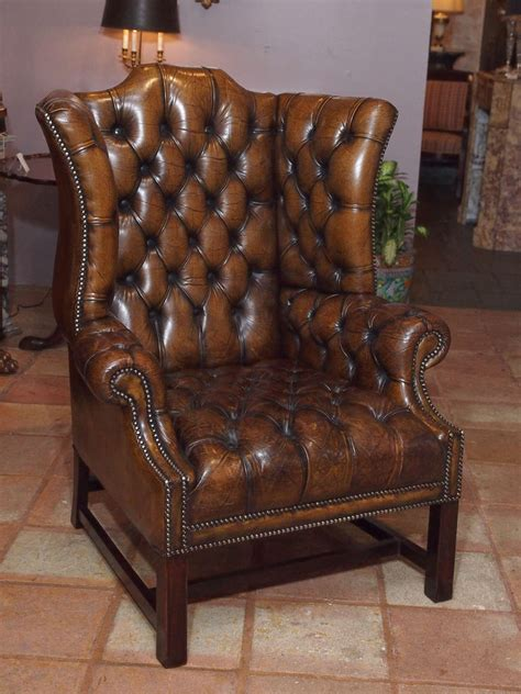 antique wingback chair antique english brown leather wing chair at 1stdibs