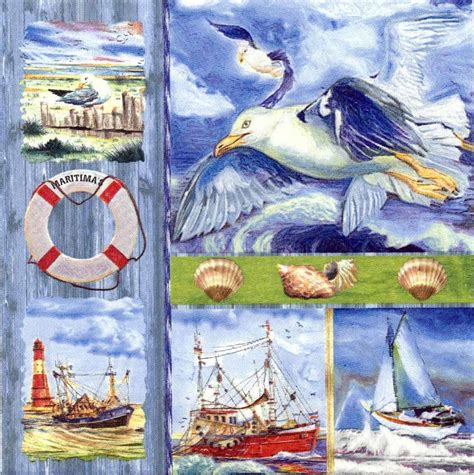 Napkin Decoupagetissue Decoupagelighthouse Sea decoupage paper napkins of napkins with boats shells seagull