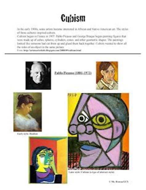 picasso biography for elementary students lots of great poster slides on styles elements