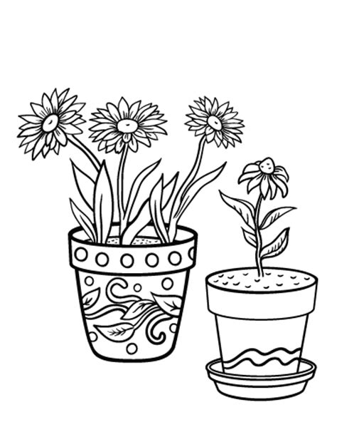 coloring pages of flowers in a pot printable flower pot coloring page free pdf download at