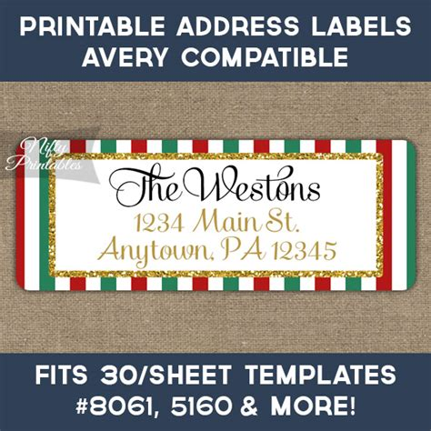 avery printable christmas address labels printable christmas address labels red green gold