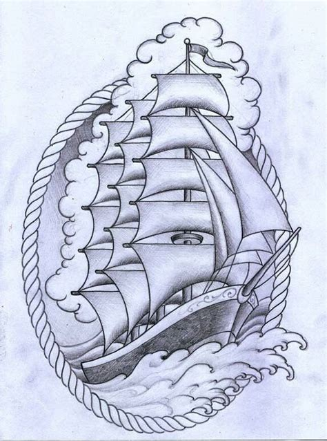 clipper ship tattoo designs ship with rope border traditional tattoos